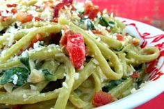 Spinach Linguine with Goat Cheese and Bacon Recipe