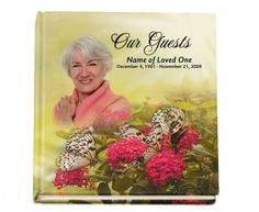 Hardcover Guest Books : Floral Bouquet Hardcover Memorial Sign-in Registry 8x8 Guest Book