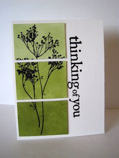 Clever, simple idea chips, paint chip cards, celery, ombre cards, card stamping, stamp card ideas, paint samples, shades of green, canvases