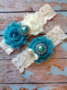 TURQUOISE wedding garter set / bridal garter/ lace garter / toss garter included / wedding garter / vintage inspired via Etsy