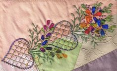 "I ❤ crazy quilting & ribbon embroidery . . . Trying to extend seams on Crazypatch is a challenge , & with the help of Faye D as organiser, a Carole Samples ""Treasury of Cazy stitches"" book, a group of crazies are endeavouring to push ourselves that little extra, to achieve some spectacular seams on our cq blocks. Following Faye's suggestions, I have stitched the seams of two 6"" blocks, with various stitch combinations. ~By Following the threads"