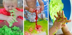 2 & 3 year old preschoolers love the tactile exploration that comes with SLIME... Make your own slime, gak, goop, etc with these DIY recipes for play. kid activities