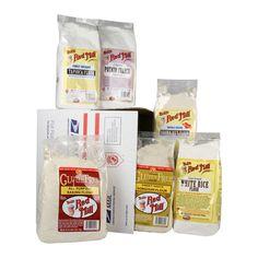 Farines sans gluten de Bob's Red Mill: farine AP SG, farine de riz brun, farine de riz blanc, fécule de patates, farine de tapioca et farine de sorgho / Gluten Free flours from Bob's Red Mill: GF AP flour, brown rice flour, white rice flour, potato starch, tapioca flour and sorghum flour