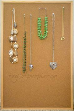 cork board + push pins = jewelry storage