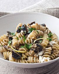 Fusilli with Roasted Eggplant and Goat Cheese | This delicious vegetarian pasta dish combines roasted eggplant with crumbled goat cheese.