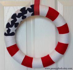 American Flag Yarn Wreath Memorial Day Wreath Fourth by peonyplush, $30.00