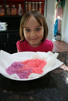 How to color rice for sensory activities