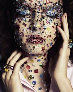 sophie droogendijk by honer akrawi for grazia france grazia franc, colorful editorial, glitter editorial, honer akrawi