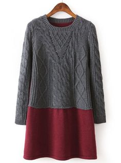 Red Contrast Grey Long Sleeve Cable Knit Sweater