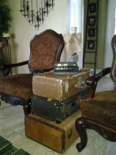 Old vintage luggage used as a side table
