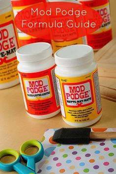 """Mod Podge formula guide - updated for 2013 with all the new formulas.  """"WHAT IS THE DIFFERENCE BETWEEN THE MOD PODGE FORMULAS?""""  You've asked it in a few different ways, but the basic question is the same. I'm ready to explain to you with my Mod Podge formula guide and why you shouldn't make your own. (?)"""