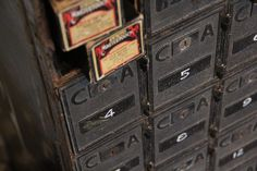 vintage post office boxes at the maker