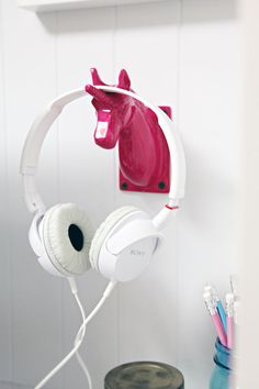 Pink Unicorn Hook - Great for Hanging Headphones at a Workspace