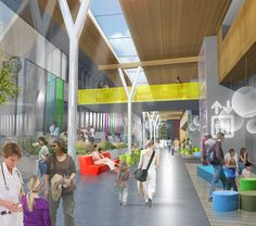 BC Children's and BC Women's Redevelopment Project's architectual concept of the atrium for the proposed Acute Care Centre.   # BCCH; BC Children's Hospital, BC Childrens Hospital Family Advisory; patient and family centred care
