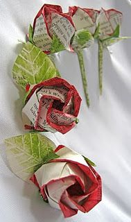 Hand Painted Upcycled Paper Roses