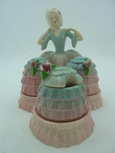 Carlton Ware Pink/Blue Crinoline Lady Cruet  Two hundred & forty
