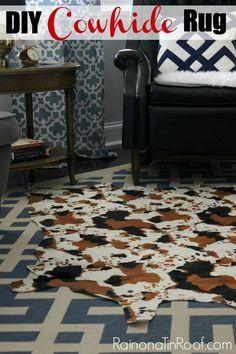 DIY Cowhide Rug (No Painting Required!) via RainonaTinRoof.com #diy #cowhide #rug