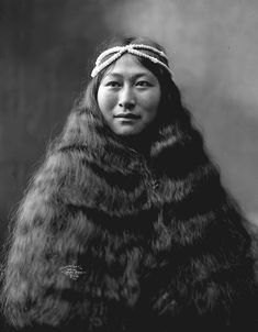 Inuit woman, Nowadluk, (also known as Nora) with long/loose hair, Nome (?), Alaska.   1903