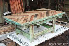 http://beachbumlivin.... Pallet Wood Coffee Table!!
