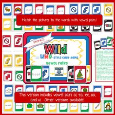 WILD card game, covers vowel pairs:  ai, ea, ee, oa, and ui.  Other versions available!  $