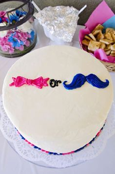 Gender Reveal Cake Pink Bows Blue Mustache