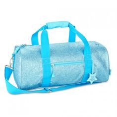 "This sparkalicious turquoise duffle bag by Bixbee is the must-have accessory for your little girl!  Great for dance, sports, or sleep-overs.  The bag measures 17"" wide x 9"" deep x 9"" high.  Features an adjustable over-the-shoulder strap, an exterior zip p"