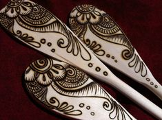 Mendhi Flower Wooden Spoon Set in Pyrography