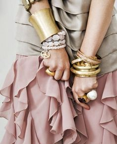 ruffles and gold bracelets