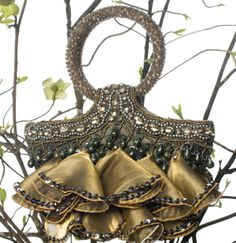 Sale Deals Designer Evening Bag Sale - Beaded Ruffle Bag Olive, Jade, Gold and Pewter- Beaded Silk Ruffle Handbag only $78.00 (was $375.00 retail)