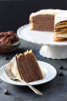 Crêpe Cake with Whipped Chocolate Ganache #recipe
