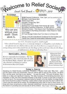 relief society newsletter template free | Relief Society Newsletter Ideas | Homemaker's Journal