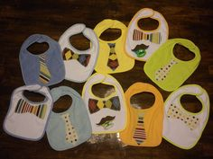Adorable DIY tie bibs and mustache pacifiers for baby boys