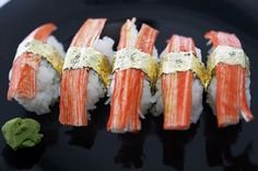 The world's most expensive sushi covered in gold and diamonds.  Fit for a queen...
