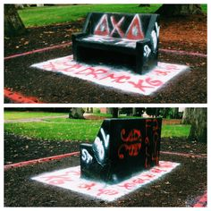 This morning, under cover of darkness, members of Delta Chi Delta took control of the Spirit Bench. They have left their mark. #SpiritBenchWars