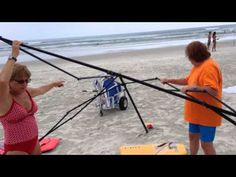 Busted! Two women caught stealing a canopy on the beach, then attack! - YouTube