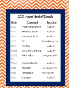 Download the PDF of Auburn's 2013 football schedule. #gameday