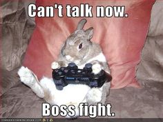 Can't talk now; boss fight...