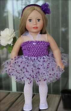 New at www.harmonyclubdolls.com Hand knotted designer tutu dresses by Baby Blossoms, specially designed to fit American Girl Dolls. Includes headband tights & ballet shoes.