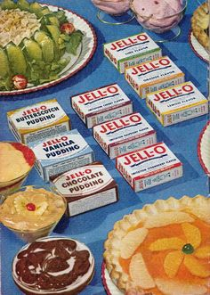 A vintage Jell-O add showing the three classic pudding and six early gelatine flavours. #food #pudding #Jello #vintage