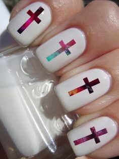 These are AWESOME http://www.etsy.com/listing/150271808/galaxy-cross-nail-decals-36-ct