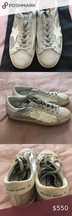 "NIB! Golden Goose Silver Superstar, 36 Brand new, never worn in box! Golden Goose Deluxe Brand ""Wrinkled Silver"" Superstar's, Size 36. Amazing silver glitter laces and supple suede / leather combo. Comes with original box and shoe bag. Golden Goose Deluxe Brand Shoes Sneakers"