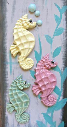 The Seahorse in moss pebble -- Ceramic chalkware fish, Retro Mid Century bathroom wall hanging. $50.00, via Etsy.