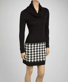 Take a look at this Black & White Houndstooth Cowl Neck Sweater Dress by Sandra Darren on #zulily today!