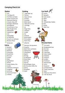 camping check list - this one is cute :)