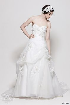 Watters wedding gowns 2011 - Patagonia Ivory Washed Silk Organza strapless gown with skirt pick ups and flower/lace embellishments