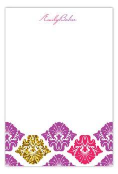 Purple Glitter Damask Flat Note Card