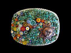 southwestern, copper sun, turquoise, mosaics, belt buckles, sun mosaic, murano millefiori, mosaic belt, belts
