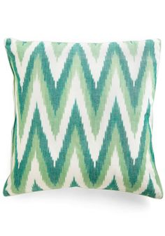 Ikat Lover Pillow in Green by Karma Living - Green, White, Print, Dorm Decor, Mod