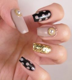 pearls, gold, black, nude, and polka dot nail art