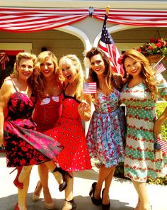The Home & Family gals dress up in vintage 40's style dresses by Voodoo Vixen for the 4th of July show! With Kym Douglas, Debbie Matenopoulis, Sophie Uliano, Laura Nativo and Shirley Bovshow